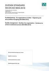 SS-EN ISO 9004:2018 Kvalitetsledning